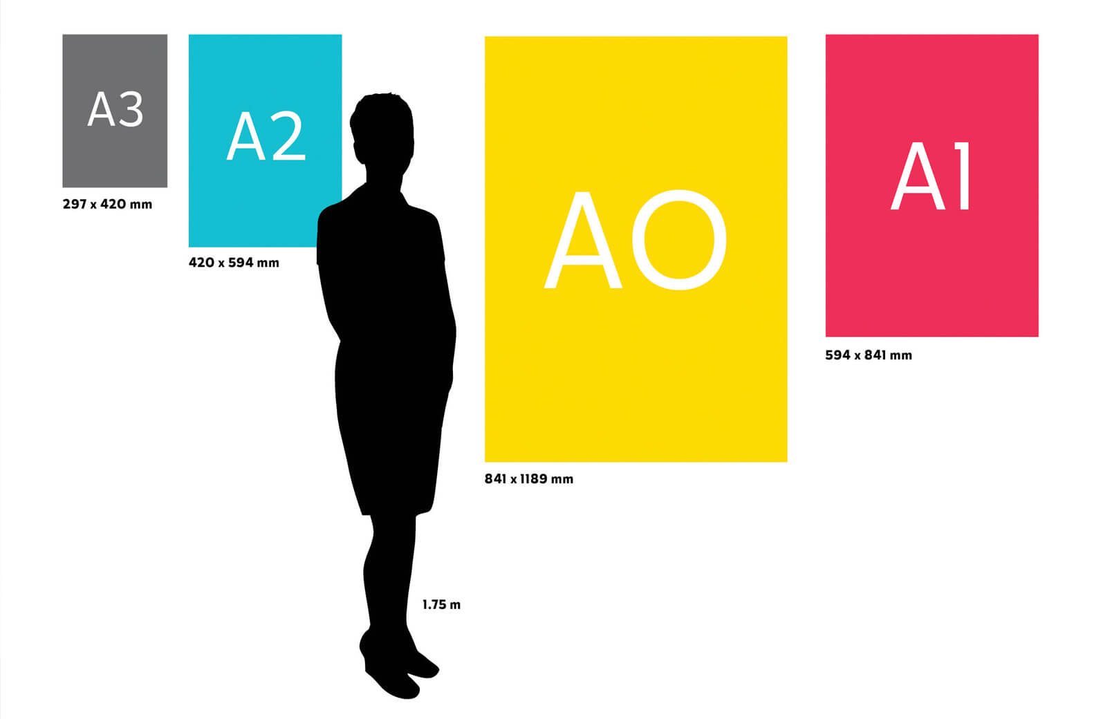 Standard poster sizes in relation to a person's silhouette