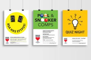 3 RSA posters against a plain grey wall