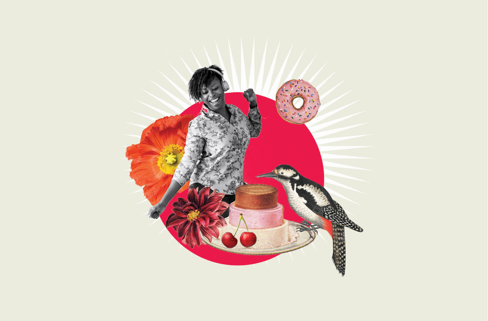 Colourful collage illustration showing a smiling woman, cake and bird