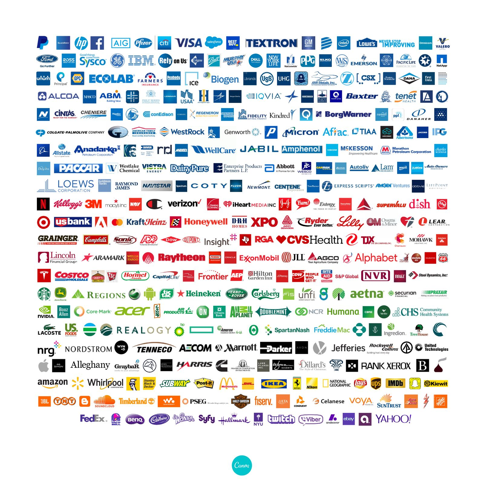 Fortune 500 business logos arranged by colour