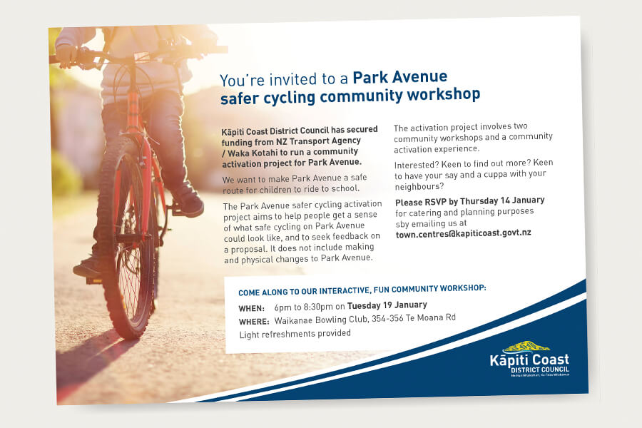 Invite showing a photo of a child riding a bike