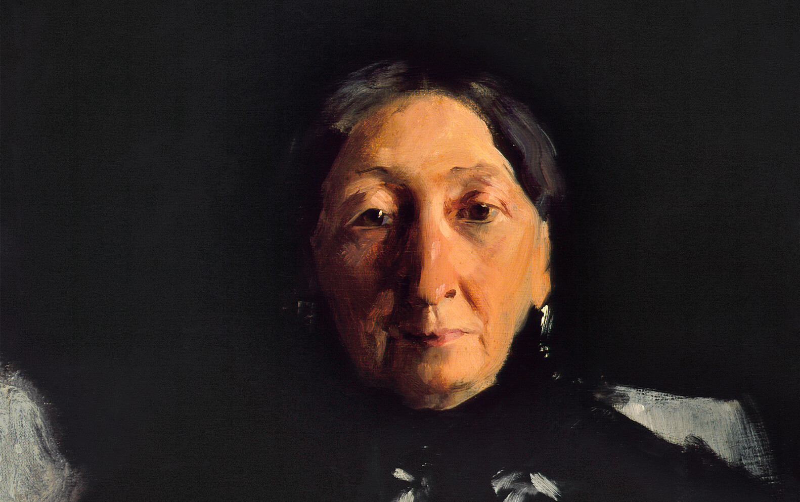 Painting of older woman's face with black background.